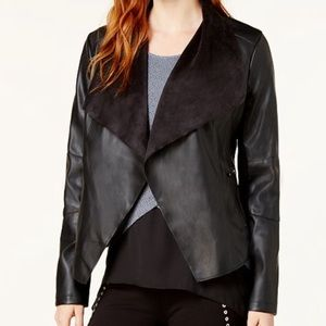 Open-front, faux-leather and suede Jacket